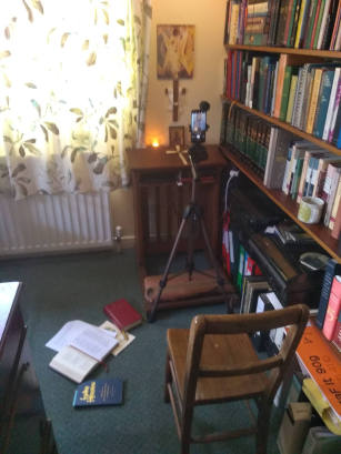 View of Benjamin's  Study with video camera showing